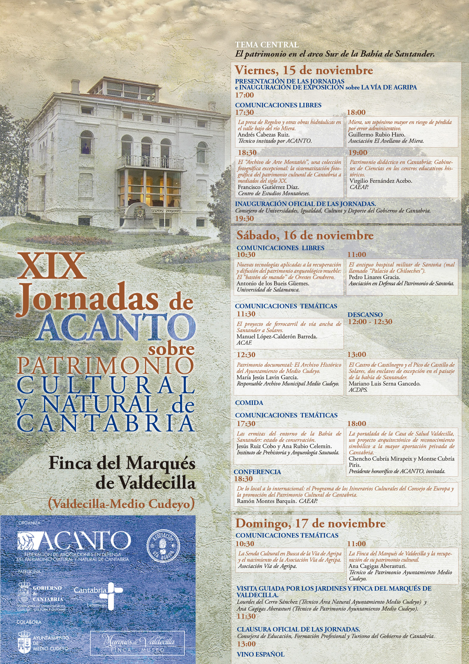 XIX Jornadas Acanto de Patrimonio (2019): Valdecilla, Noviembre 15, 16 y 17 (viernes, sábado y domingo). PROGRAMA Y HORARIOS.