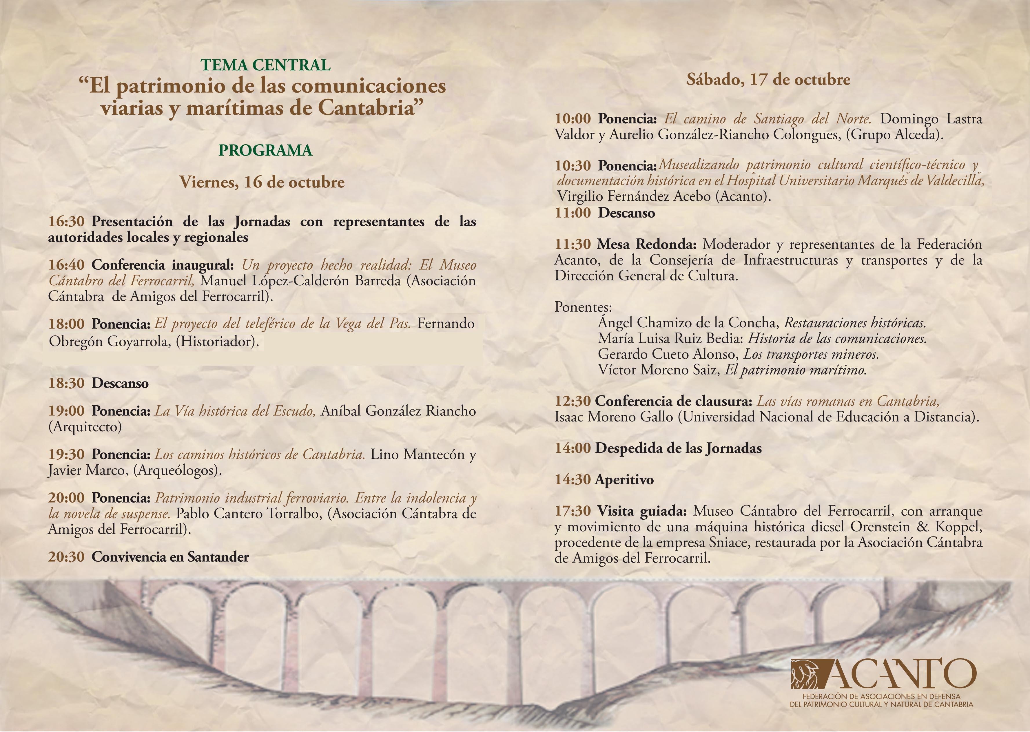 Programa definitivo de las XIV JORNADAS ACANTO DE PATRIMONIO. Días 16 y 17 de octubre de 2015.